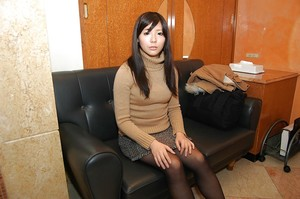 Lovely oriental young in pantyhose Ami Nagashima undressing and vibing her pussy