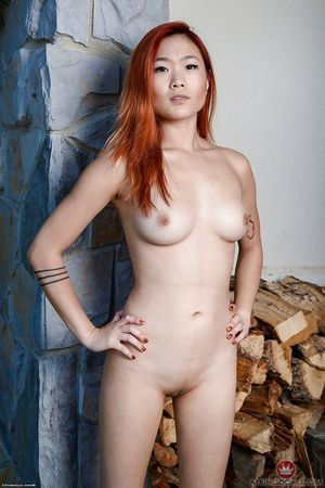 Redhead amateur solo beauty Lea Hart baring precious Japanese front bumpers and smooth on top gentile