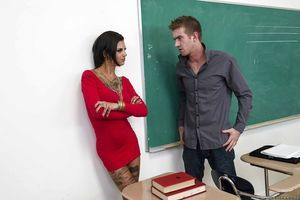 Unconventional tattooed schoolgirl Bonnie Rotten accepts anal group-fucked by a well-hung pal