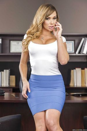 Schoolgirl with colossal boobs Destiny Dixon poses in the office so untamed
