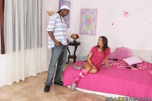 Adolescent gal Tori Black with small mangos accepts can\'t live without interracial copulation