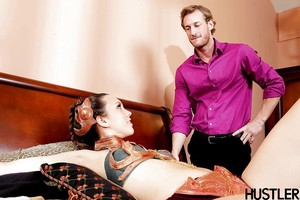 Infant pornstar Jade Nile jerking stick with bond collar around neck