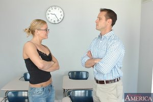 Hot coed fairy-haired in glasses Cali Cassidy gives proper blowjob and bonks