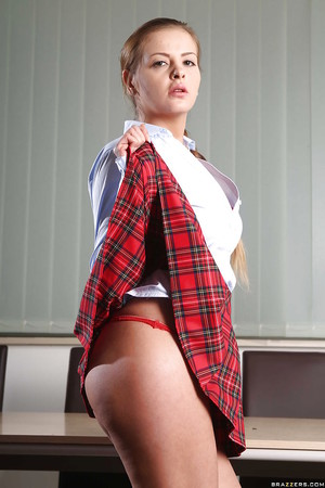 Stunning schoolgirl Candy Alexa has fantabulous uniform for a fantabulous scene