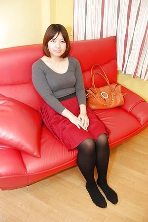 Close up upskirt scene featuring Asian youthful babe in cylinder Harumi Okuno