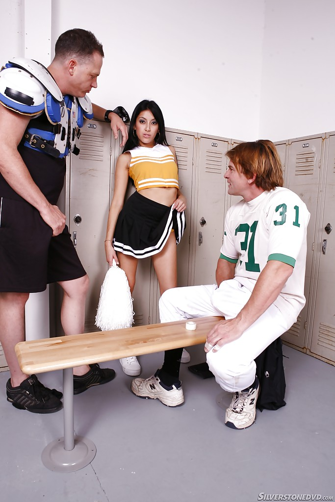 Latina slut Kimberley Gates gets group fucked in football lockeroom