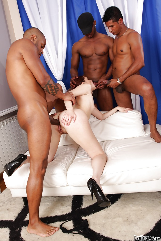 Insane interracial gangbang with astonishing redhead Atlanta