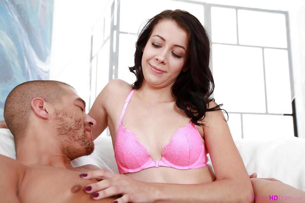 Young brunette girl Alaina Kristar giving older man handjob