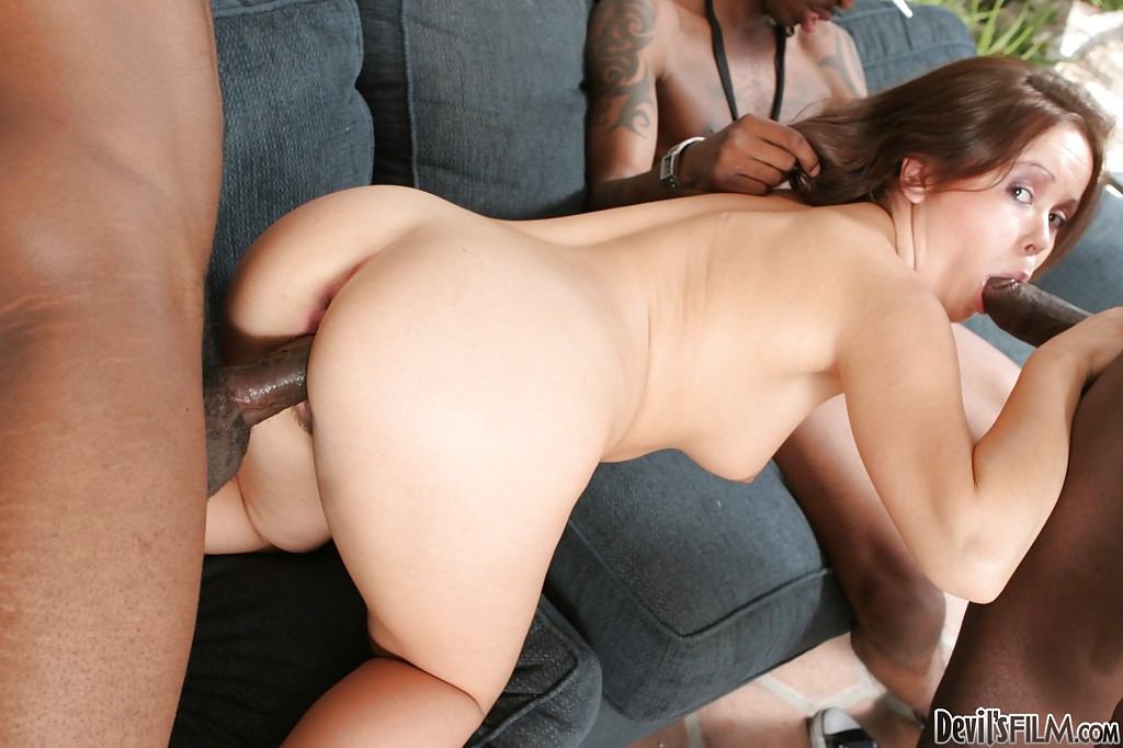 Redhead bitch Kaci Starr fucks with giant black dicks on camera