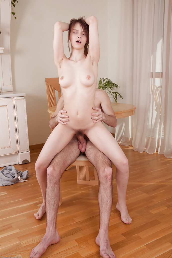 Young first timer Beata Undine showing off her hairy underarms