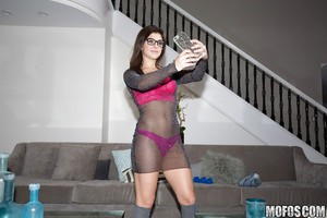 Young adolescent gal Leah Gotti winsome self shots in glasses and underware