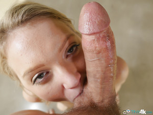 Freshman Dakota Skye benefits from on knees to deepthroat penis POV
