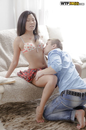 Japanese schoolgirl Miranda purchases her sweet amateur gentile licked by white guy