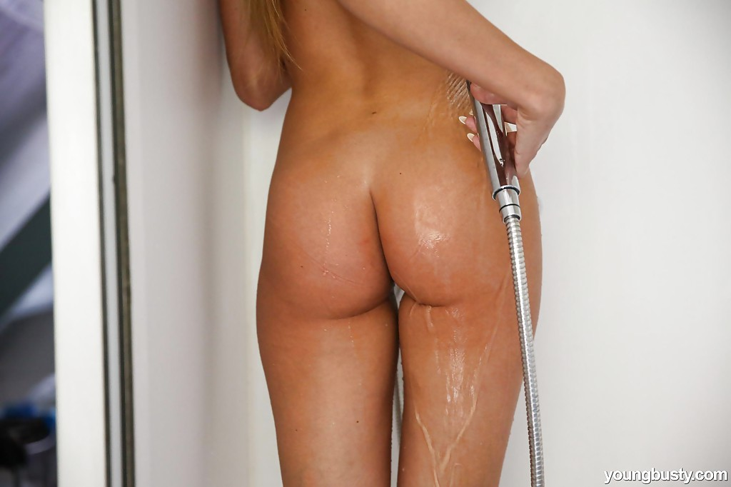 Barely legal blonde solo girl Jessie C fondling big wet tits in shower