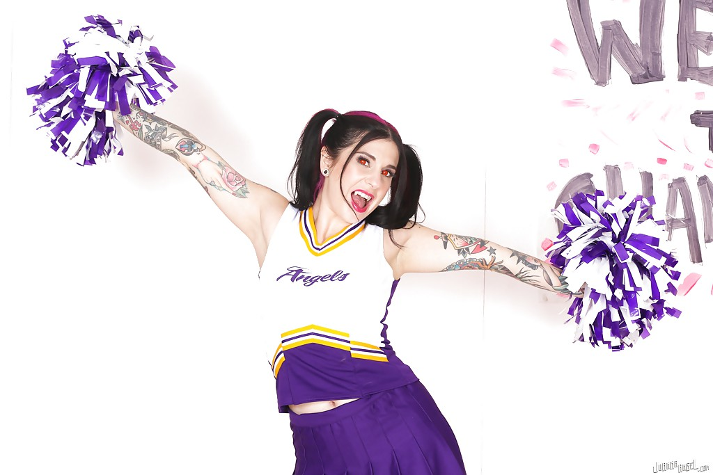 Amateur upskirt posing with a hot babe Joanna Angel in her cheerleader suit