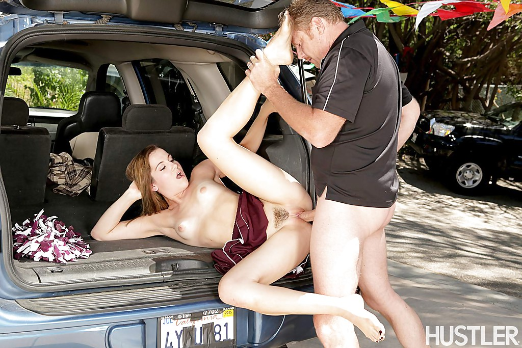 Dirty pornstar Kasey Warner has an outdoor fuck as a horny cheerleader