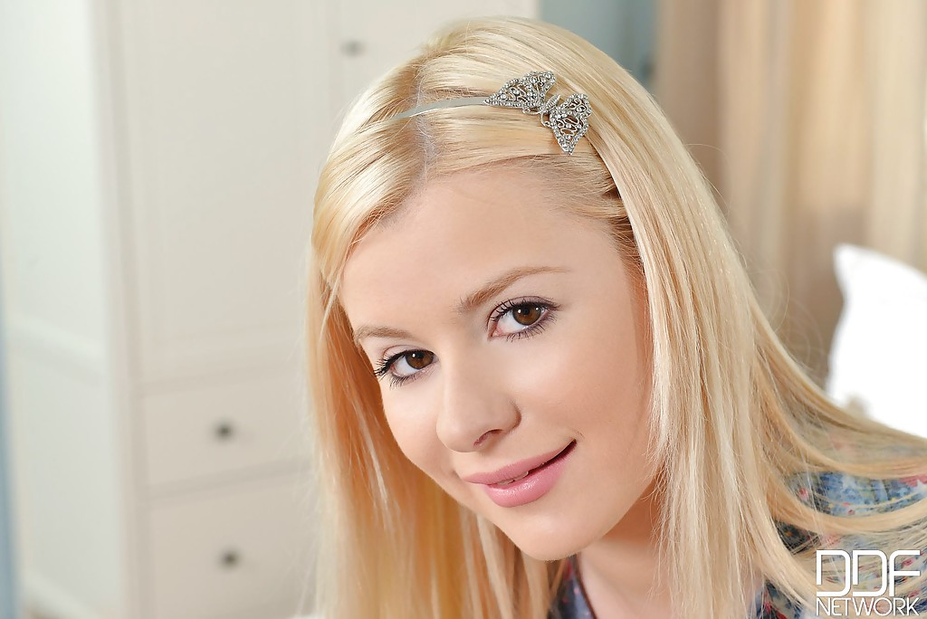 Adorable blonde Charlyse Bella needs to get satisfied somehow