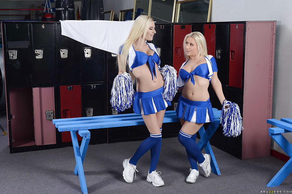 Curvy cheerleaders changing their clothes in the locker room