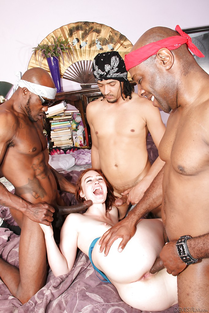 Sexy curly-haired Jodi Taylor and some big black cocks in her anal