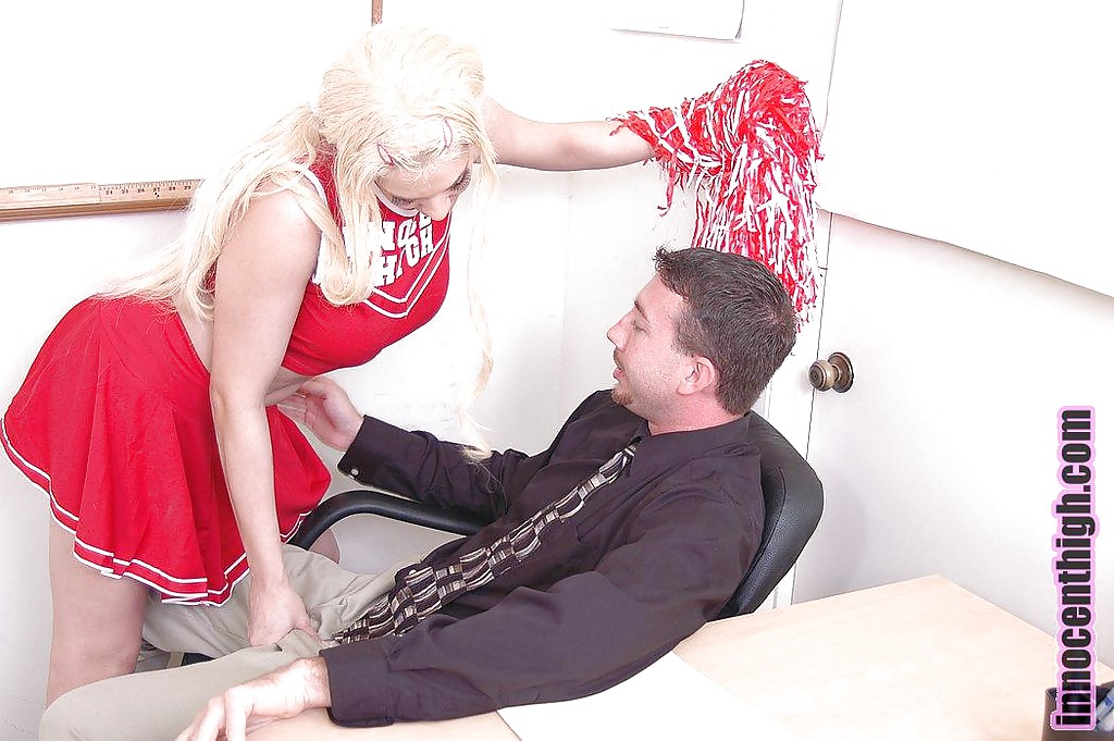 Nasty blonde cheerleader Tatiana giving a wet and deep blowjob