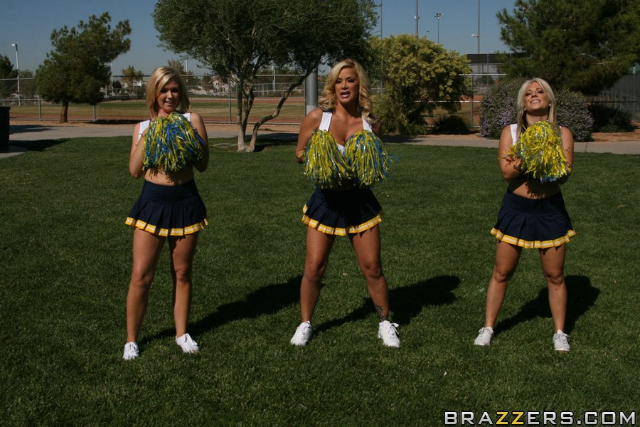 School cheerleader with big boobs Shyla Stylez has groupsex