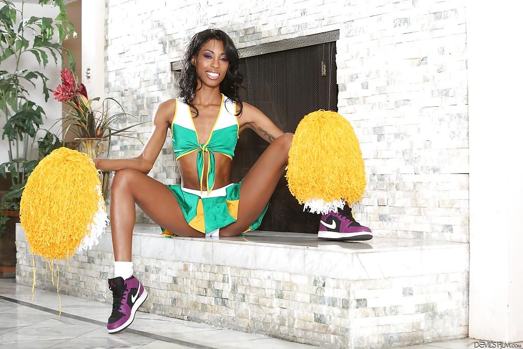 Ebony Adriana Malao is taking off her sexy tight cheerleader uniform
