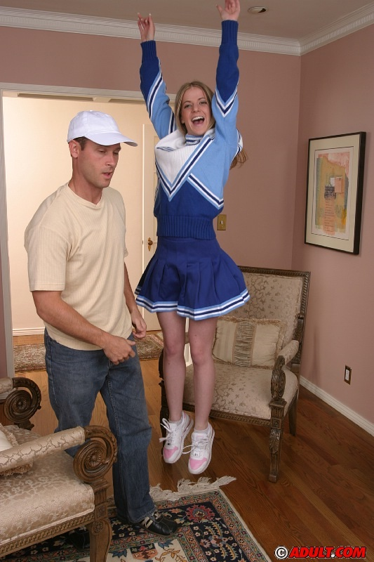 Slutty cheerleader gets her mouth full of hot cum after a fervent threesome