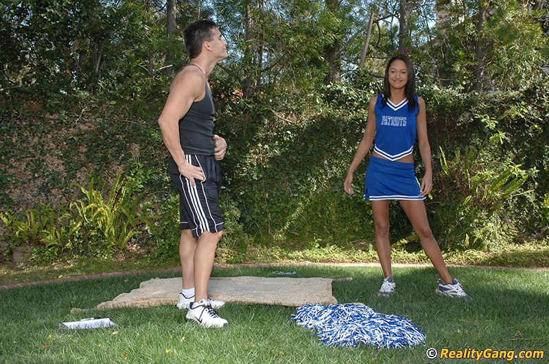 Amazingly sexy cheerleader with shaved slit Halia Hill gets nailed outdoor