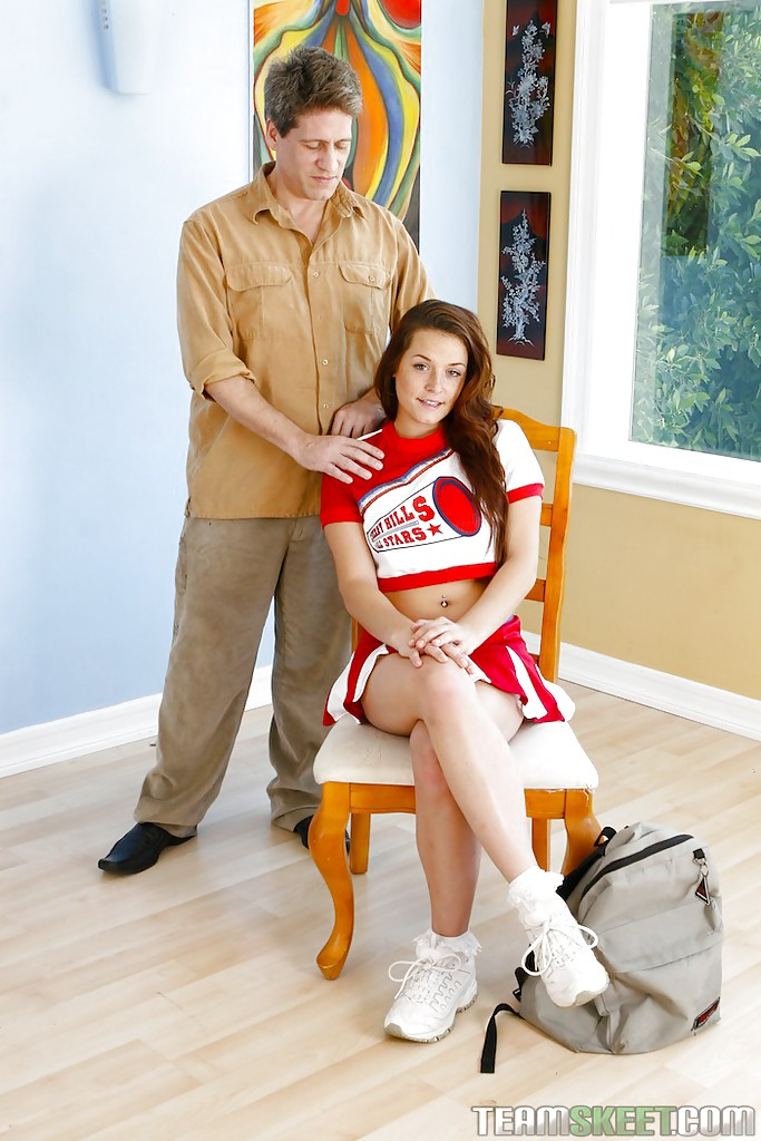 Decent teen cheerleader Talia Palmer is boffed by mature male