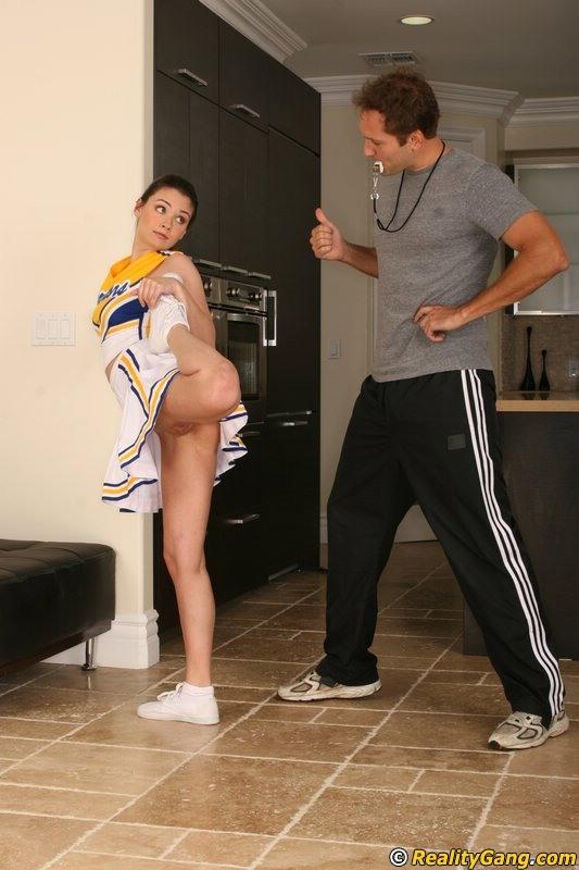 Slutty cheerleader Rikki Love seduces her coach and gets fucked hard