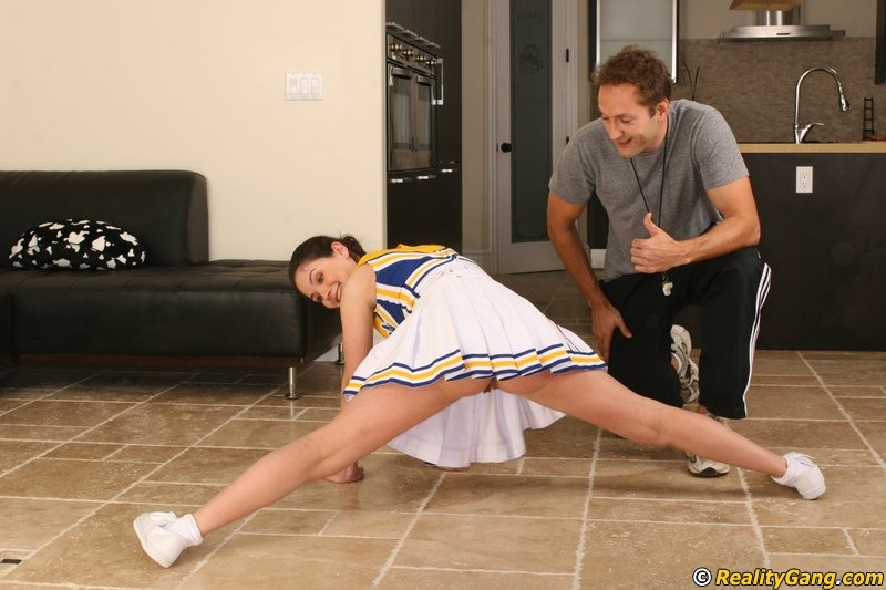 Slutty cheerleader Rikki Love seduces her coach and gets fucked hard