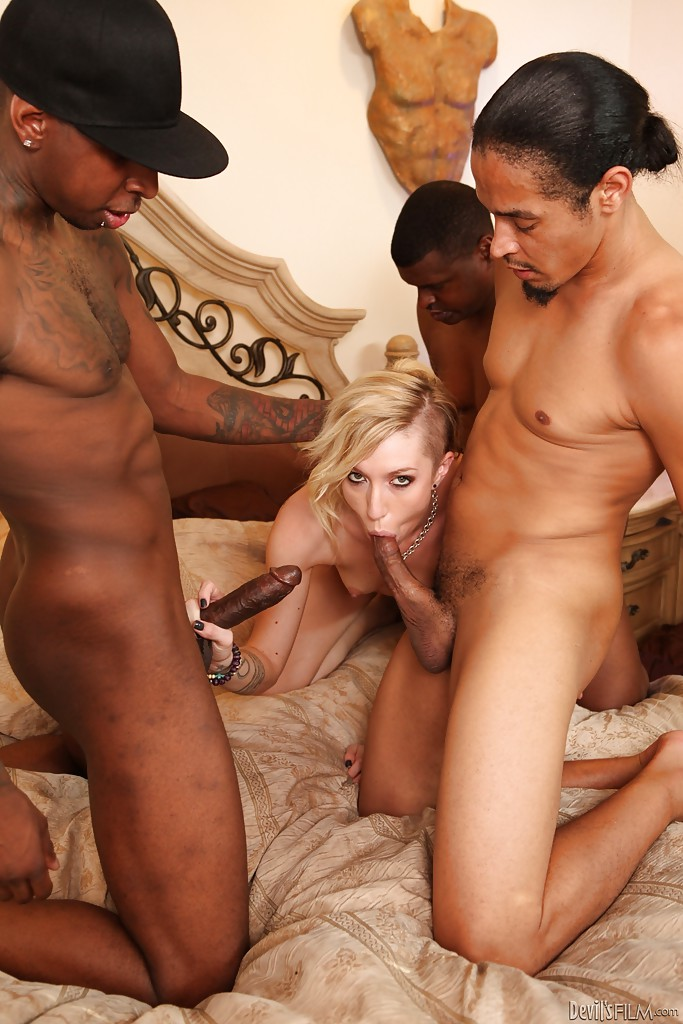 Interracial gangbang features groupsex lover Maia Davis and her lovers