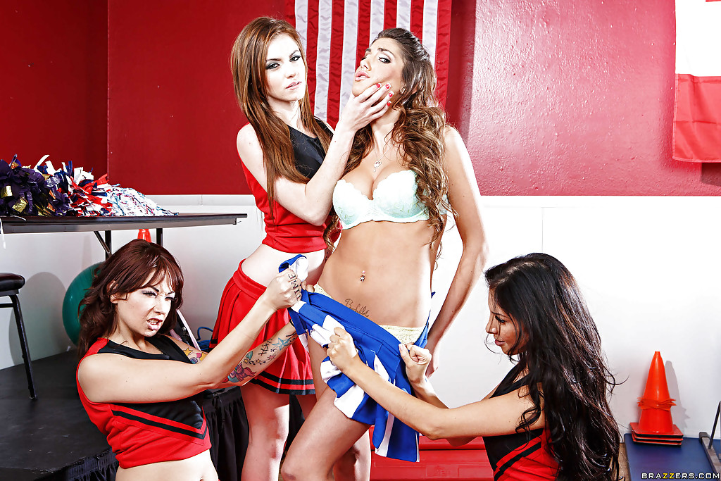 Lesbian cheerleader August Ames is going through a rough training