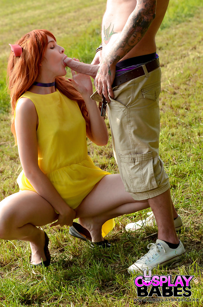 Cum dribbles down the chin of a redhead teen named Amarna Miller