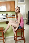 Wonderful amateur Marky is posing completely naked in her kitchen