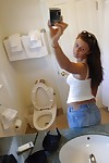 Stunning youthful Whitney keen to to take selfies and show off her wet crack