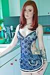 Redhead juvenile princess Sasha Torment striptease and toying her cunt in the kitchen