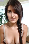 Smiley beauty with pigtail and infiltrated front button rubbing her love button