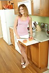 Alluring youthful youthful queen named Erin Hunt undressing at the kitchen