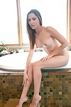 Sugary amateur lass Cassie Laine gains as was born and takes warm washroom