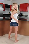 Frisky fairy sugar-plum in jeans shorts undressing and exposing her wet crack