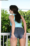 Excited teen in jeans underwear undressing and caressing she is outdoor