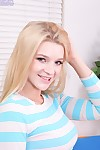 Exclusively legal fairy-haired princess Addison Avery removing denim jeans in bedroom