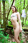 Nice-looking 18 year old 1st timer Elizabeth H shows off small body outdoors