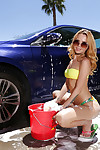 Teen blonde youthful Alina West showing off soaked waste outdoors in sunglasses