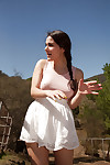 Smart dark hair bombshell Valentina Nappi having satisfaction on a farm
