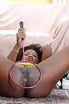 Ebony adolescent with biggest breasts Katana shows her arse in an teen posing scene