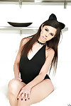 Latin chico cutie Taylor Reed posing in cat o\'nine tails doll uniform and high heels