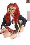 Foxy schoolgirl in glasses and desire uniform uncovering her mini bows