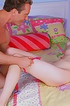 Lovely infant golden-haired slams her shiny on top pink twat on a thick wang